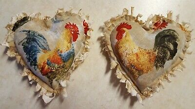 "Primitive Ornies, Bowl Fillers,  Grungy, Large Chicken/Rooster  5"" x 5"" 2 pc set"