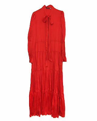 3f47954015f ZARA NEW WOMAN Long Ruffled Dress With Bow Red Xs-Xl Ref. 2283/693 ...