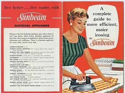 "1960'S ""Complete Guide To More Easier Efficient Ironing"" Sunbeam Aust 33 Pge A86"