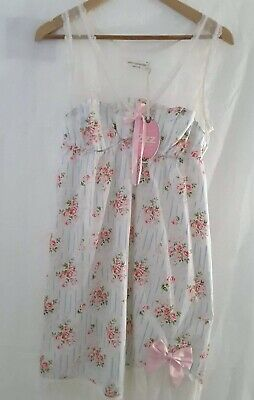 Peter Alexander Pink Roses Floral Shabby Dress Nighty Nightie Sz M New With Tags