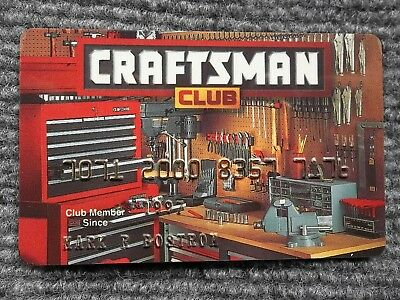 SEARS ROEBUCK CRAFTSMAN CLUB MEMBER CARD 1997 UNSIGNED credit FREE SHIPPING