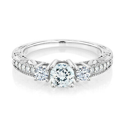 0.85 Ct Sky Blue Aquamarine 925 Sterling Silver 3-Stone Ring