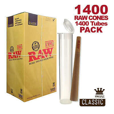 RAW Cones 1400 Pack Classic King Size Pre Rolls with Tips Plus 1400 Clear Tubes