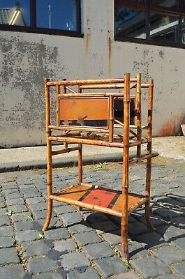 Victorian Bamboo Magazine Rack Side Table With Chinoiserie Hand Painted Panels
