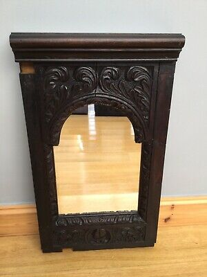 Antique Victorian Gothic Church Mirror Old Oak Carved Salvage Pew Rail New Glass
