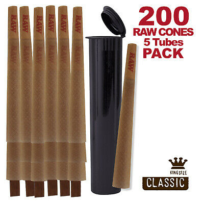 RAW Cones 200 Pack Classic King Size Pre Rolls with Tips Plus 5 Black Tubes