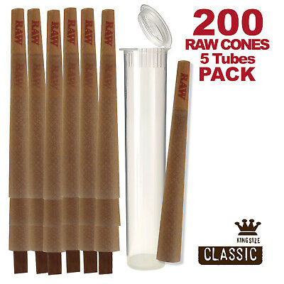 RAW Cones 200 Pack Classic King Size Pre Rolls with Tips Plus 5 Clear Tubes
