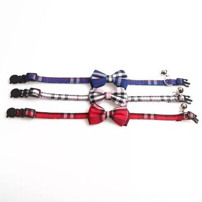 Tartan Cat Collar, Safety Release, With or With Out Bow, Removable Bell