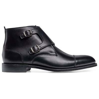 Men's Bespoke Handmade Leather Formal Ankle Double Monk Oxford Toe Cap Boots