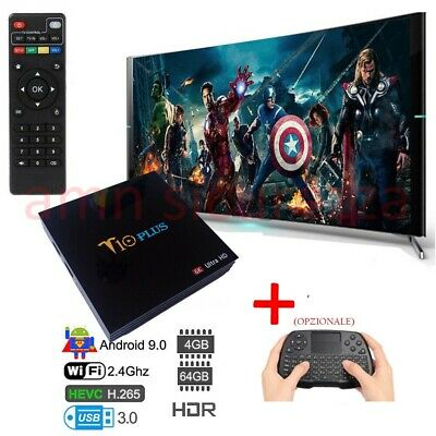 ANDROID TV BOX SMART TV T10 PLUS Android 9 4GB RAM 64GB 4K TV GPU 5 CORE QUAD WI