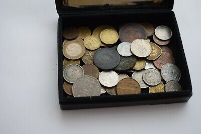 Box of old coins from around the world
