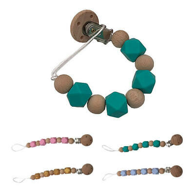 2pcs Pacifier Dummy Clip Anti-Lost Chain Wood / Silicone Beads Baby Gift