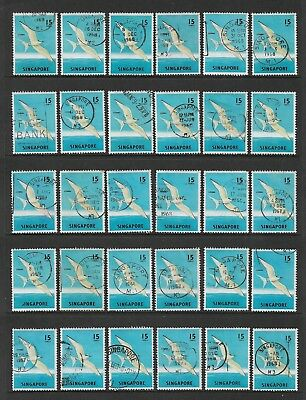 Singapore 1962-1966 BIRDS, 15c Sterna, Tern, No.1, bulk lot x 30, used