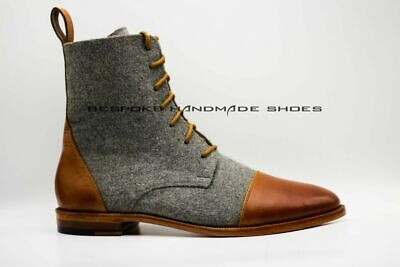 Men's Bespoke Handmade Genuine Leather & Fabric Lace-Up Ankle Boots Casual Wear