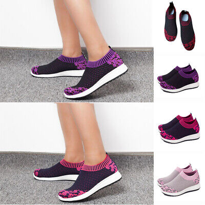 Women Breathable Sneakers Trainers Ladies Mesh Knitted Pumps Slip On Shoes Size