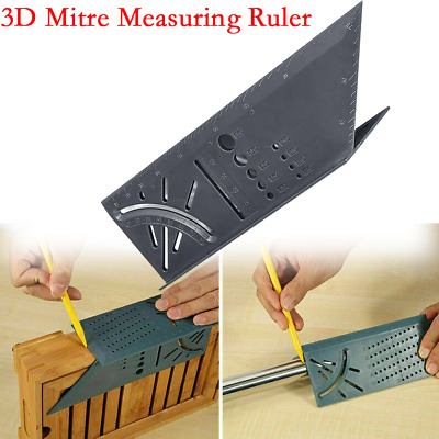 3D Mitre Angle Measuring Square Size Bevel Measure Tool With Gauge And Ruler LO