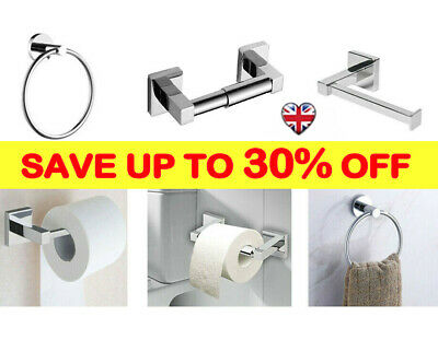 Polished Chrome Bathroom Toilet Roll Holder & Towel Ring Set Fittings Included B