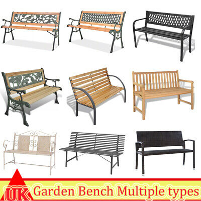 Garden Bench 2 Seater Outdoor Patio Seating Furniture Seat with Armrests 8 Type