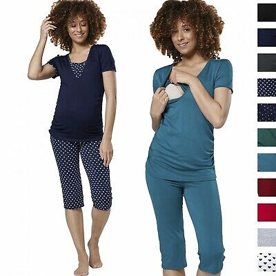 Happy Mama Women's Maternity Nursing Pyjamas Sleepwear Set Top Capri Pants 1014