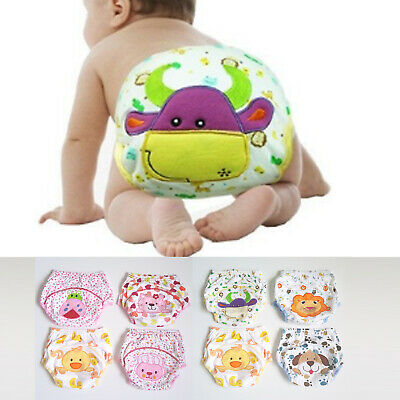 4x Cotton Boys Girl Toilet Training Pants Nappy Waterproof Reusable Washable