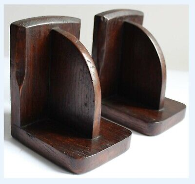 Pair Vintage Hand Carved Arts & Crafts Wooden Book Ends 40's - Mid Century
