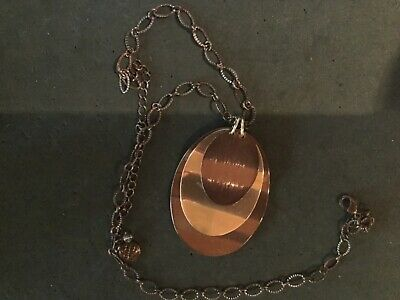 Beautiful VTG BB BASKIN BROTHERS Layered Medallion Metal Pendant NECKLACE 22""