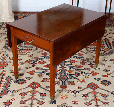 Antique Pembroke Table 19th Century Mahogany Extending Dining Kitchen Table