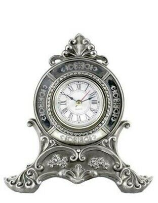 Silver Coloured Mantle Clock Roman Numerals Battery Operated Stunning L@@K!.....