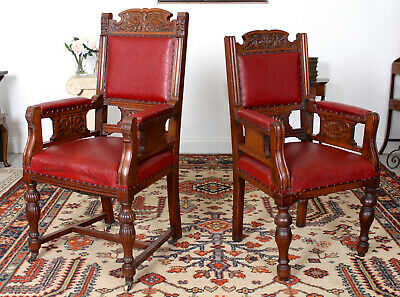 Antique Pair Large Armchairs Carved Walnut His and Hers Highback Chairs 19th Cen