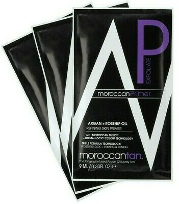 MOROCCANTAN 3in1 Refining Skin PRIMER Exfoliator Argan Rosehip Oil 9ml Sample