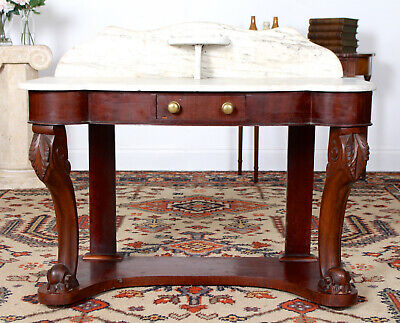 Antique 19th Century Marble Duchess Dressing Console Table Wash Stand Mahogany