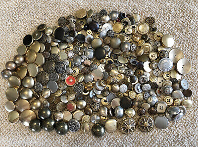 Vintage 270+ PC Lot Misc Metal Clothing Sewing Buttons Plain-Neat Designs-Hollow