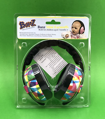 NEW! Banz Mini Earmuffs Protection for Little Ears EM014 - Geo Print #6087