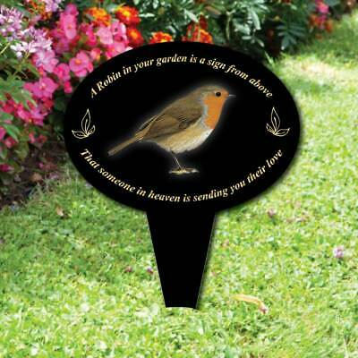 Memorial oval grave sign, Robin Garden,In Loving Memory Garden Plaque on stake
