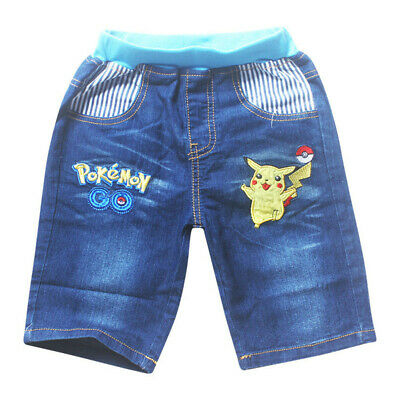 Pokemon Pikachu Boys Girls Jeans Shorts Bottom Pants Costume Clothes Trousers