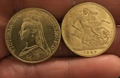 RESTRIKE Queen Victoria 1887 Full Sovereign Gold Coloured Plated Brass