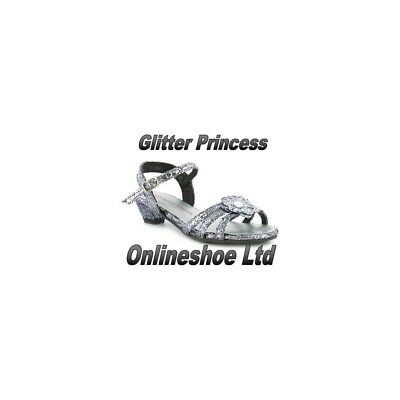 Girls Kids Sparkly Princess Silver Glitter Party Shoe Sandals Size UK9 Infant