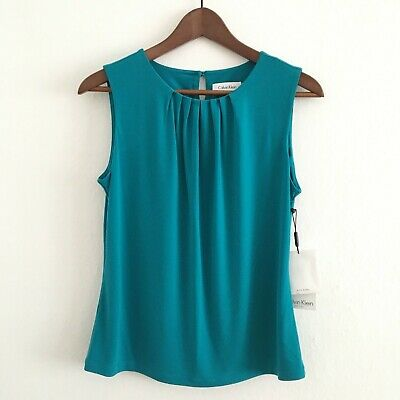 Calvin Klein Women's Size Petite Medium Teal Green Blue Blouse Top New with Tags