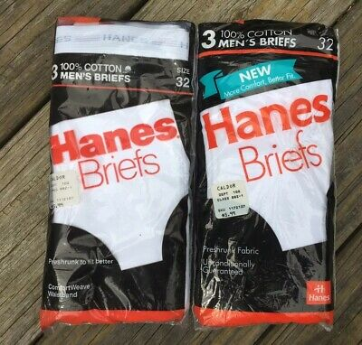 Vintage 1987 & 1992 HANES 3 Packs of Mens White Briefs Underwear Size 32 NOS