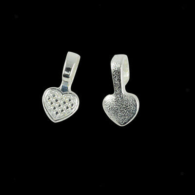 100pcs Silver White Heart Glue on Bails Setting For Bracelets Pendants