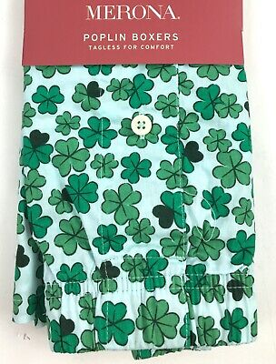 Merona Poplin Shamrock Mens Boxers YOU CHOOSE SIZE Lucky St Patricks Pattys Day