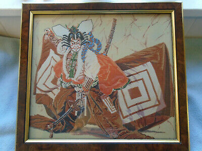 Framed Fine Woodblock  Japanese Silk Embroidery Warrior Actor