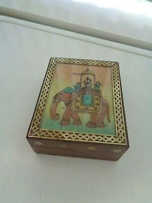 Vintage Wooden Jules Verne Indian Tea Caddy Box Elephant Picture To Lid Top
