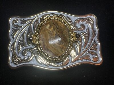 Vintage Silver and Gold Cowboy Belt Buckle With Brown Accent Stone