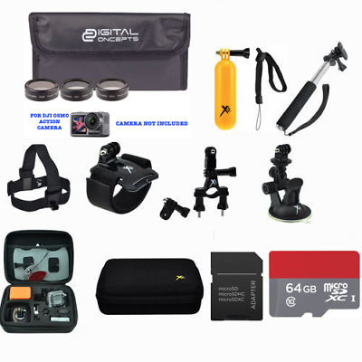 64Gb Full Mount Kit For Dji Osmo Action Cam Digital Camera With 2 Displays