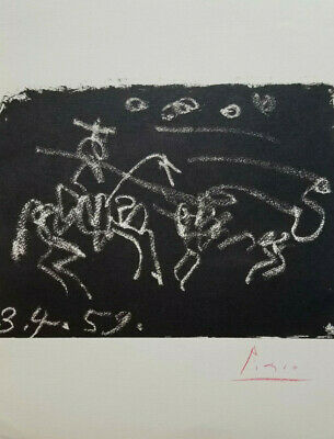 Pablo Picasso 1961 Toros Lithograph Hand Signed In Red Crayon + No Reserve !