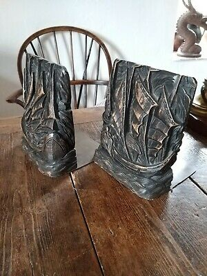 A Fantastic Pair of Carved Wood And Brass Ship Bookends Arts And Crafts...
