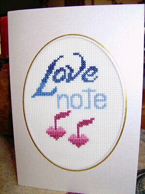 Completed Finished Cross Stitch Card LOVE NOTE