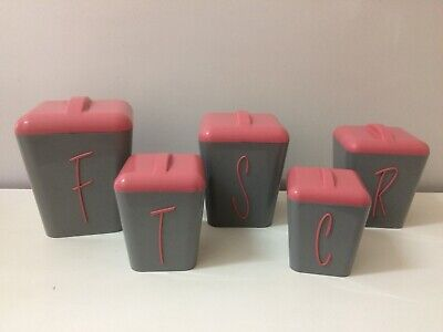 Vintage Gay Ware , Gayware Kitchen Canisters Grey & Pink , 50s  60s Retro