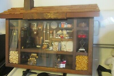 "Vintage Era General Country Store Diorama 16 1/2 X 10"" Lots Of Items See Photos"